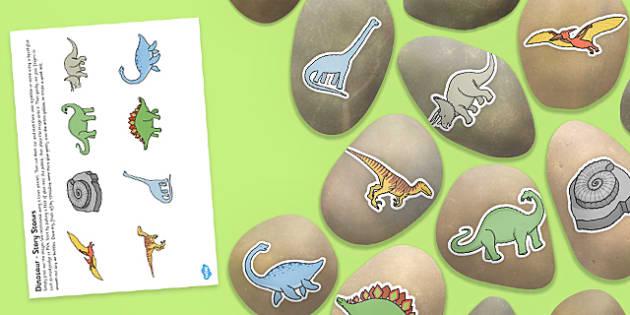 Dinosaur Story Stone Image Cut Outs - dinosaur, story stone, image, cut outs