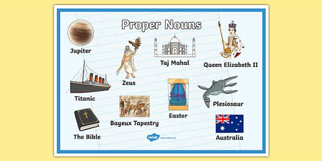 Proper Nouns Display Poster - proper nouns poster, nouns poster, nouns, words, types of words, words poster, noun examples, literacy display, ks2 english