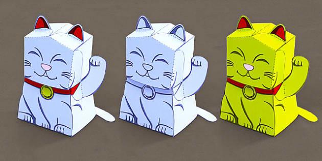 Fortune Cat Paper Model - fortune, cat, paper, model, craft