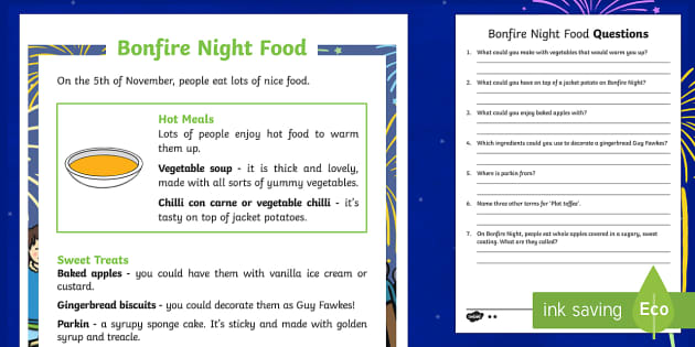 KS1 Bonfire Night Food Differentiated Reading Comprehension Activity