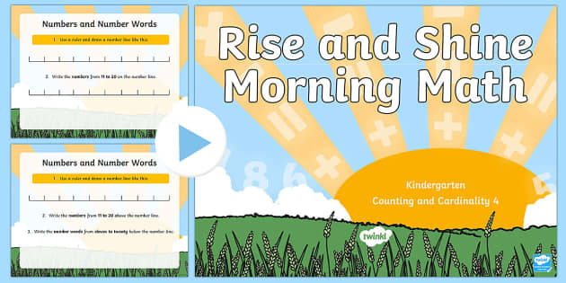 Rise and Shine Kindergarten Morning Math Counting and Cardinality 4 PowerPoint - Morning Work, Kindergarten Math, Counting and Cardinality, Counting Sequences