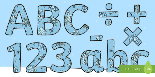 Winter Display Lettering & Symbols (Snowflakes) - Winter, Display lettering, display letters, alphabet display, letters to cut out, letters for displays, coloured letters, coloured display, coloured alphabet, Arctic, winter, xmas, display poster, A4,