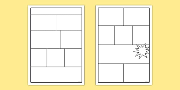 Comic Book Templates - comics, comic, comic book template, writing frame, drawing frame, drawing, picture frame, creative, comic frame, frame, writing, writing aid, writing template, template, literacy