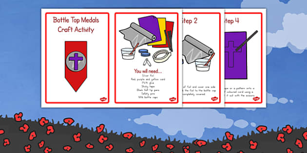 Remembrance Day Bottle Top Medals Craft Activity - australia