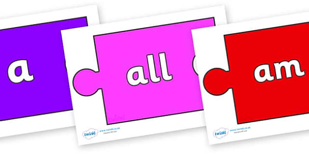 Foundation Stage 2 Keywords on Jigsaw Pieces - FS2, CLL, keywords, Communication language and literacy,  Display, Key words, high frequency words, foundation stage literacy, DfES Letters and Sounds, Letters and Sounds, spelling