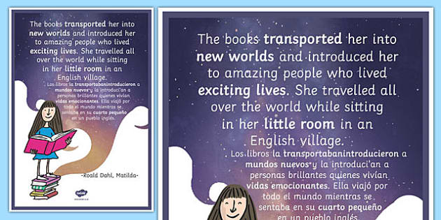 The Books Transported Her Matilda Motivational Poster Spanish Translation--translation