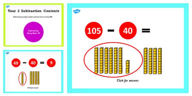Y2 2 Digit Number Tens Not Cross 100 Subtract Same Tens Base 10