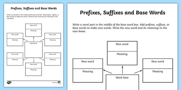 Word Study Graphic Organiser Worksheet - prefixes suffixes and base words, words worksheet, word study worksheet, word parts worksheet, prefixes and suffixes