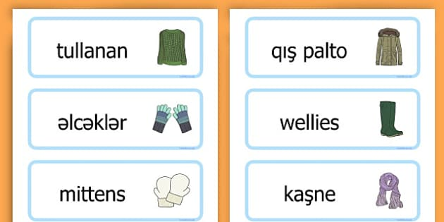 Winter Clothes Word Cards - winter clothes, word cards, winter, clothes - Azerbaijani