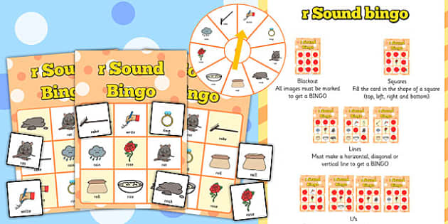 r Sound Bingo Game with Spinner - r, sound, sounds, bingo, game