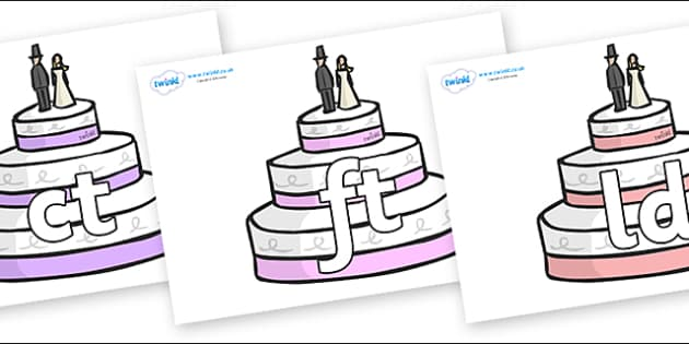 Final Letter Blends on Wedding Cakes - Final Letters, final letter, letter blend, letter blends, consonant, consonants, digraph, trigraph, literacy, alphabet, letters, foundation stage literacy