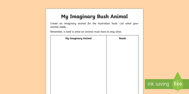 My Imaginary Bush Animal Activity Sheet