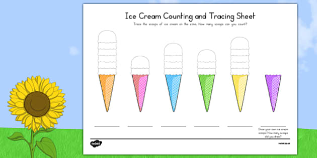 Ice Cream Counting and Tracing Sheet - usa, america, ice cream, summer, counting, tracing