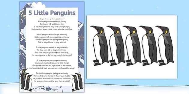 5 Little Penguins Rhyme - Antarctic, Polar, Penguin, rhyme, song, eyfs, early years