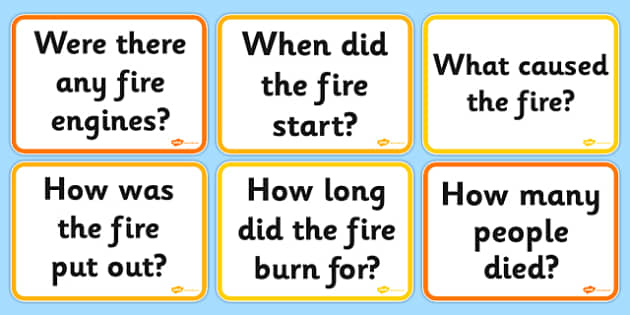 The Great Fire of London Question Cards - Great Fire, London