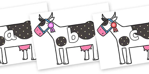 Phase 2 Phonemes on Cow to Support Teaching on What the Ladybird Heard - Phonemes, phoneme, Phase 2, Phase two, Foundation, Literacy, Letters and Sounds, DfES, display