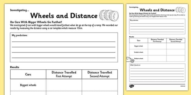 KS1 Maths Wheels and Distance Investigation Activity Sheet, worksheet