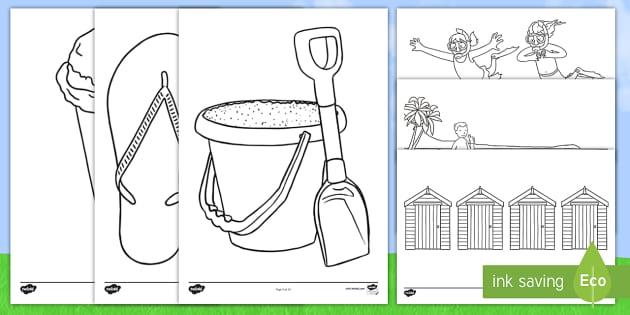 Summer Colouring Sheets - Summer, colouring, fine motor skills, poster, worksheet, holiday, holidays, seasons, beach, sun, flowers, ice cream, sea, seaside