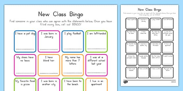 New Class Bingo