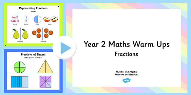 Year 2 and 3 Fractions Warm Ups PowerPoint - australia, Year Two, Maths, Fractions and Decimals, warm ups, direct instruction, explicit instruction, recall, vocabulary, halves, quarters, eighths, ACARA, Australian, Curriculum