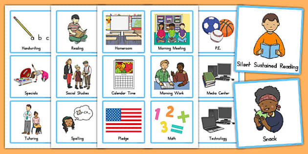 USA Visual Schedule Cards - usa, america, Schedule, Classroom Organization, Daily Routine, EC, ESL