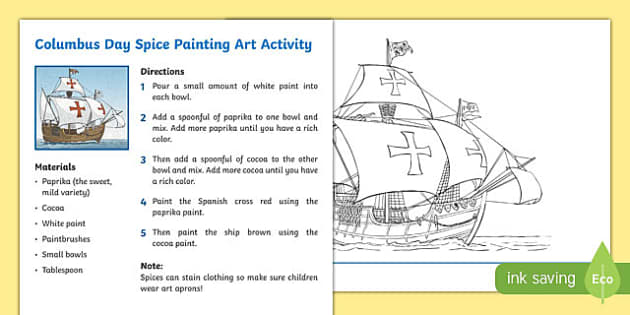 Columbus Day Spice Painting Art Activity