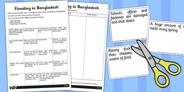 Flooding in Bangladesh Activity Sheet - bangladesh, flooding, worksheet