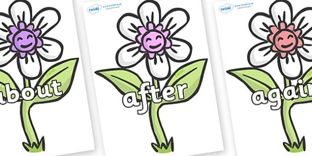 KS1 Keywords on Flowers - KS1, CLL, Communication language and literacy, Display, Key words, high frequency words, foundation stage literacy, DfES Letters and Sounds, Letters and Sounds, spelling