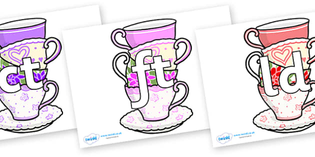 Final Letter Blends on Teacups - Final Letters, final letter, letter blend, letter blends, consonant, consonants, digraph, trigraph, literacy, alphabet, letters, foundation stage literacy