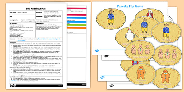 Pancake Flip Game EYFS Adult Input Plan and Resource Pack to Support Teaching on Mr Wolf's Pancakes - EYFS, Early Years planning, adult led, PSED, Personal, Social, Emotional Development, game, turn taking, Pancake Day, Shrove Tuesday, Mr Wolf's Panc