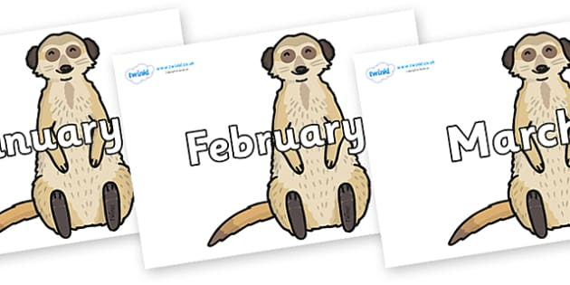 Months of the Year on Meerkats - Months of the Year, Months poster, Months display, display, poster, frieze, Months, month, January, February, March, April, May, June, July, August, September