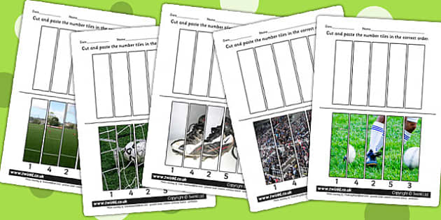Football Themed Number Sequencing Photo Puzzles - sport, pe, game