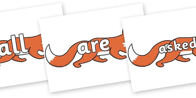 Tricky Words on Hullabaloo Fox to Support Teaching on Farmyard Hullabaloo - Tricky words, DfES Letters and Sounds, Letters and sounds, display, words