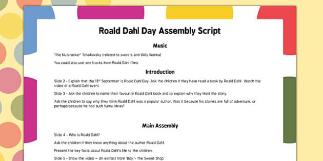 Roald Dahl Day Assembly Script - roald dahl, day, assembly, script