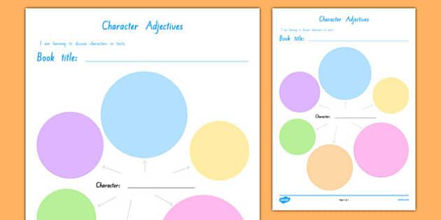 Character Adjectives Activity Sheet, worksheet
