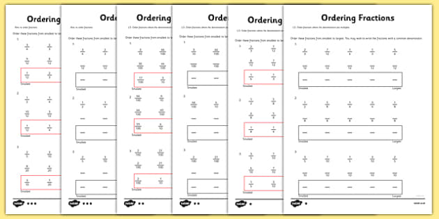 Year 5 Ordering Fractions Activity Sheet year 5 ordering – Ordering Fraction Worksheets