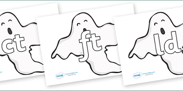 Final Letter Blends on Ghosts (Plain) - Final Letters, final letter, letter blend, letter blends, consonant, consonants, digraph, trigraph, literacy, alphabet, letters, foundation stage literacy