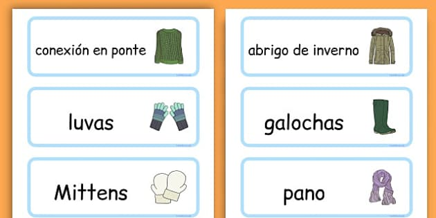 Winter Clothes Word Cards - winter clothes, word cards, winter, clothes - Galician