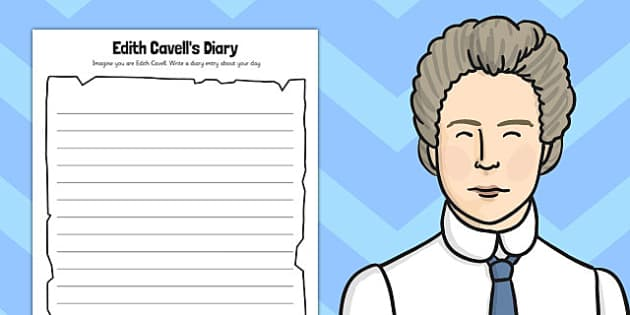 Edith Cavells Diary Activity Sheet - edith cavell, diary activity, worksheet