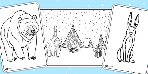 The Bear and the Hare Colouring Sheets - bare and the hare, sheet