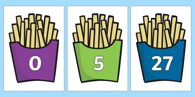 Numbers 0-31 on French Fries - 0-31, foundation stage numeracy, Number recognition, Number flashcards, counting, number frieze, Display numbers, number posters