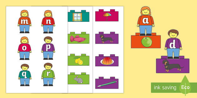 Toy Figures Alphabet Matching Game - EYFS, Early Years, KS1, Toys, phonics, initial sounds, building blocks, building bricks, Lego.