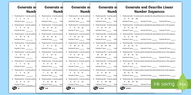 Finding Terms in a Sequence Generate and Describe Linear Number Sequences Activity Sheets - Key Stage 2, KS2, Maths, algebra, linear sequences, formula, formulae
