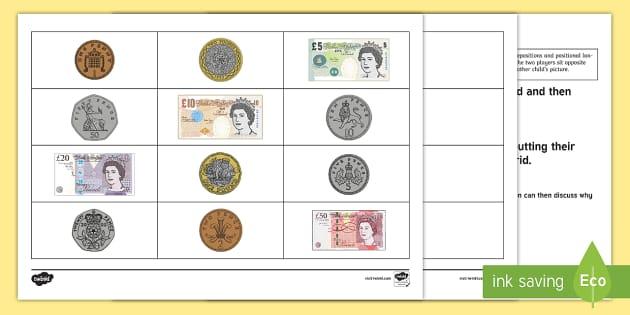 British Money Barrier Game - Barrier Games, EAL, speaking, listening, talking, describe, coins, money,pound