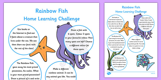 Reception FS2 Home Learning Challenge Sheet to Support Teaching on The Rainbow Fish - rainbow fish, home learning, challenge