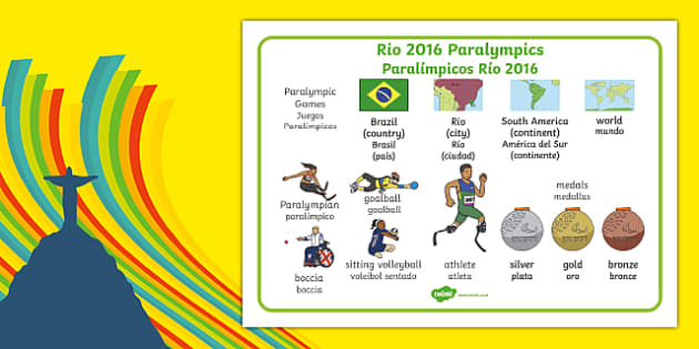 Rio Paralympics 2016 SEN Word Mat Spanish Translation - spanish, Paralympics, Rio 2016, Brazil, Word Mat, Key words, Key vocabulary, Literacy, English, Special Educational Needs, Language development, Disability Awareness