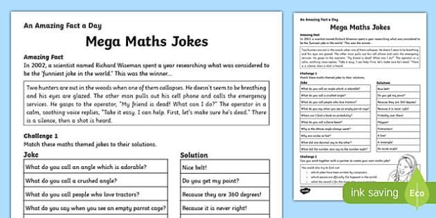 Mega Maths Jokes Activity Sheet, worksheet