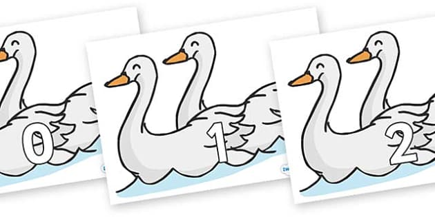 Numbers 0-100 on Swans - 0-100, foundation stage numeracy, Number recognition, Number flashcards, counting, number frieze, Display numbers, number posters