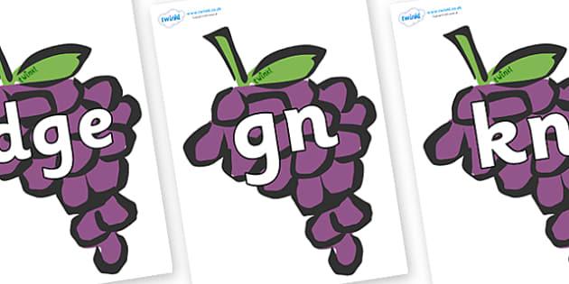Silent Letters on Grapes - Silent Letters, silent letter, letter blend, consonant, consonants, digraph, trigraph, A-Z letters, literacy, alphabet, letters, alternative sounds