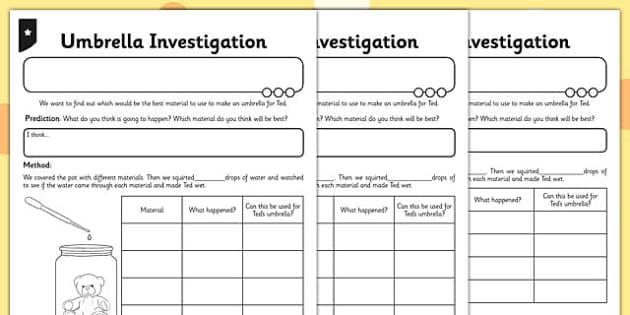 Umbrella Investigation Activity Sheet - umbrella, investigation, activity, worksheet